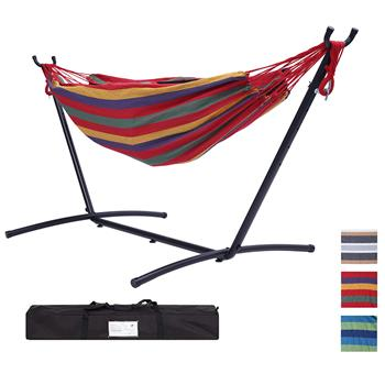 "112"" Large Size Double Classic Hammock with Stand for 2 Person- Indoor or Outdoor Use-with Carrying Pouch-Powder-coated Steel Frame - Durable 450 Pound Capacity,Red Striped"