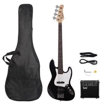 [Do Not Sell on Amazon]Glarry GJazz Bass with Electirc Bass Amplifier Power Wire Tools Black