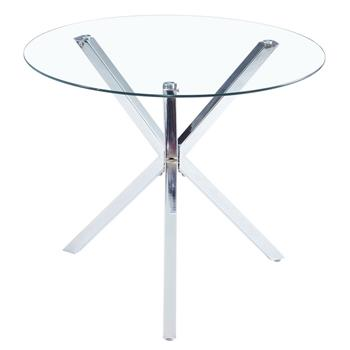 90*90*75cm Round Glass Dining Table Transparent Glass Table Leg Cross Design(only table)