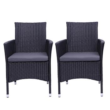 2pcs Single Backrest Chairs Rattan Sofa Black