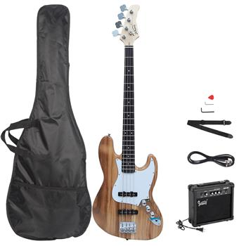 [Do Not Sell on Amazon]Glarry GJazz Bass with Electirc Bass Amplifier Power Wire Tools Burlywood