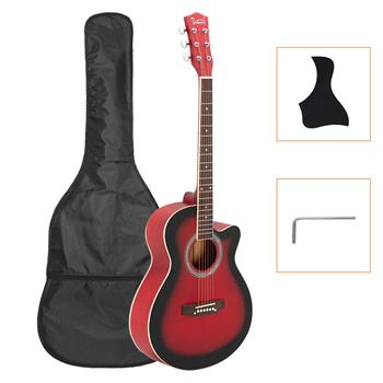 [Do Not Sell on Amazon]Glarry GT501 40 inch Spruce Front Cutaway Folk Guitar with Bag & Board & Wrench Tool Gradient Red