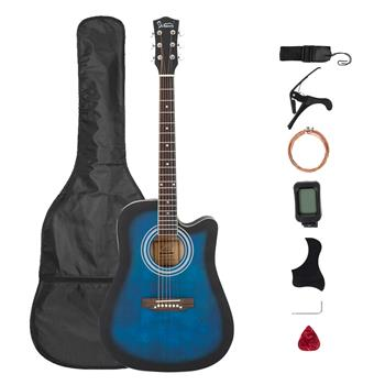 [Do Not Sell on Amazon]Glarry Gt509 41 Inch Spruce Panel Matte Edging EQ Folk Guitar Bag Shield Wrench Tuner Capo Shoulder Strap String Paddles Blue
