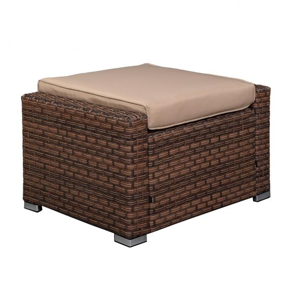 Wide Rattan Double Contiguous Rattan Five-Piece Suit 2 Single 2 Pedals 1 Double Coffee Table Box 1 (Total Two Boxes) Brown