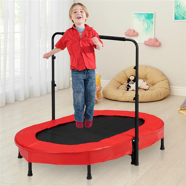 Foldable Rebounder 2-Person Trampoline with Adjustable Handle for Two Kids Red & Black