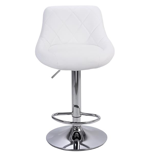 FCH Bar Stool Set of 2 with Backrest Height-adjustable and Rotatable Artificial Leather White
