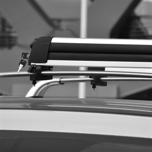 L Size Car Ski Snowboard Roof Racks 2 PCS Universal Aluminum Ski Snowboard Car Carriers Lockable Fits 4pairs of skis or 2 Snowboard