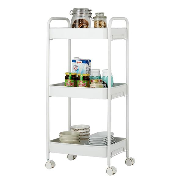 3-Tier Mobile Utility Cart Kitchen Cart with Caster Wheels White