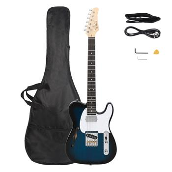 [Do Not Sell on Amazon]Glarry GTL Semi-Hollow Electric Guitar F Hole HS Pickups Rosewood Fingerboard White Pearl Pickguard Blue