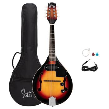 [Do Not Sell on Amazon]Glarry A Style 8-String Acoustic Electric Mandolin Double-Duty Mandolin with Gig Bag for Beginner Sunset Color