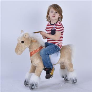 UFREE Small 29'' Ride-on Horse for Children 3-6 Years Old. (Light Brown Horse with Braid) (DO NOT SELL ON AMAZON) (DISCOUNT ON BULK PURCHASE)