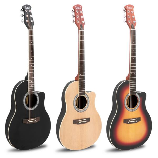 【Do Not Sell on Amazon】Glarry GT101 41 inch Acoustic Guitar Spruce Top Cutaway Round Voice Hole Round Back Black