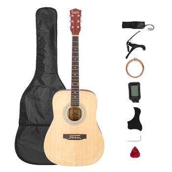 [Do Not Sell on Amazon]Glarry Gt508 41 Inch Rounded Spruce Panel Matte Edging Folk Guitar Bag Shield Wrench Tuner Capo Shoulder Strap String Paddles Burlywood