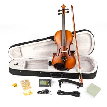 [Do Not Sell on Amazon]Glarry 4/4 Solid Wood EQ Violin Case Bow Violin Strings Shoulder Rest Electronic Tuner Connecting Wire Cloth Matte