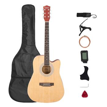 [Do Not Sell on Amazon]Glarry Gt509 41 Inch Spruce Panel Matte Edging EQ Folk Guitar Bag Shield Wrench Tuner Capo Shoulder Strap String Paddles Burlywood