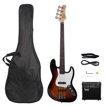 [Do Not Sell on Amazon]Glarry GJazz Bass with Electirc Bass Amplifier Power Wire Tools Sunset