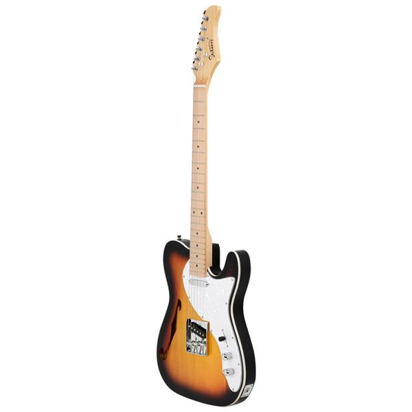 [Do Not Sell on Amazon]Glarry GTL Semi-Hollow Electric Guitar F Hole SS Pickups Maple Fingerboard White Pearl Pickguard Sunset Color