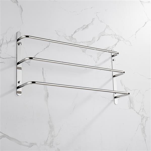 THREE Stagger Layers Towel Rack 304 Stainless Steel Towel Bars Bathroom Accessories Set Bright Polishing Silver 27.56 inches KJWY003YIN-70CM