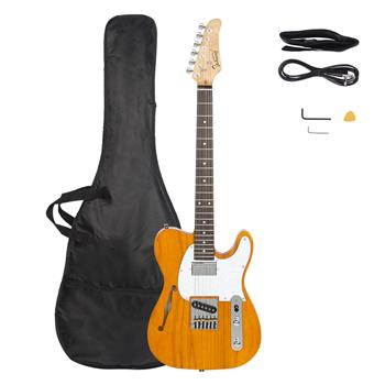 [Do Not Sell on Amazon]Glarry GTL Semi-Hollow Electric Guitar F Hole HS Pickups Rosewood Fingerboard White Pearl Pickguard Transparent Yellow