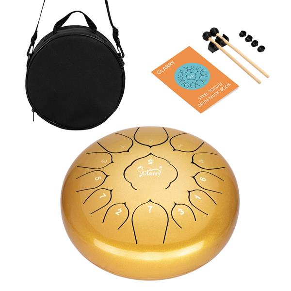 """【Do Not Sell on Amazon】Glarry 12"""" 13-tone Steel Tongue Drum Stainless Steel Handpan Drum Empty Drum Portable Drum Pack Drumsticks Golden"""