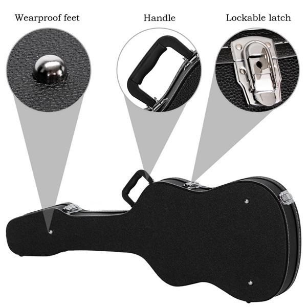 [Do Not Sell on Amazon]Glarry Hard-Shell Electric Guitar Case Flat Surface Black suit for GST, GTL