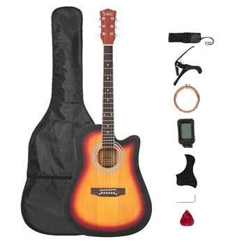 [Do Not Sell on Amazon]Glarry Gt509 41 Inch Spruce Panel Matte Edging EQ Folk Guitar Bag Shield Wrench Tuner Capo Shoulder Strap String Paddles Sunset Color