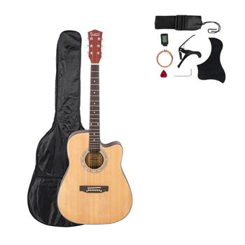 [Do Not Sell on Amazon]Glarry GT601 41 inch Dreadnought Spruce Front Cutaway Sapele Back Folk Guitar with Bag & Board & Wrench Tool Burlywood
