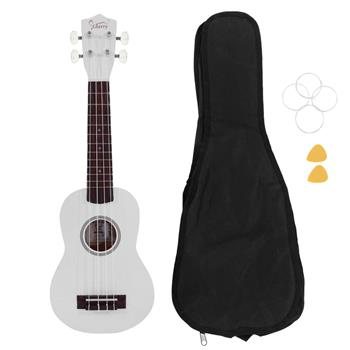 "[Do Not Sell on Amazon]Glarry UK102 23"" Pure Color Rosewood Fingerboard Basswood Concert Ukulele with Bag Strings Picks White"