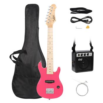 """[Do Not Sell on Amazon]Glarry 30"""" Maple Fingerboard Electric Guitar Amplifier Bag String Shoulder Strap Plectrum Cord Wrench Tool Pink"""