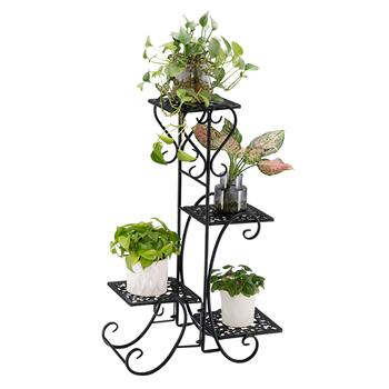 Artisasset One Set Black Paint 32.3 Inches High 4 Square Patterned Potted Plants Stand