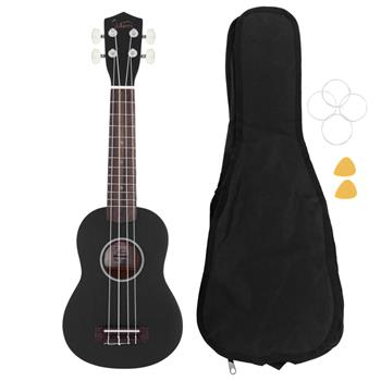 """[Do Not Sell on Amazon]Glarry UK102 23"""" Pure Color Rosewood Fingerboard Basswood Concert Ukulele with Bag Strings Picks  Black"""