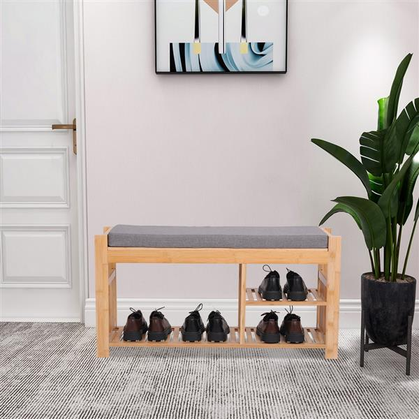 100% Bamboo Shoe Stool With Cushion, Three-Layer Entrance Bench With Shoe Rack, Shoe Stool With Storage Rack In Bedroom And Bathroom 29.2 * 96 * 49cm Natural