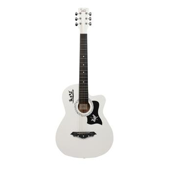 [Do Not Sell on Amazon]Glarry GT507 38 inch Spruce Guitar with Bag & Strap & Guitar Pick & LCD Mixer & Guard Plate & String Pure White