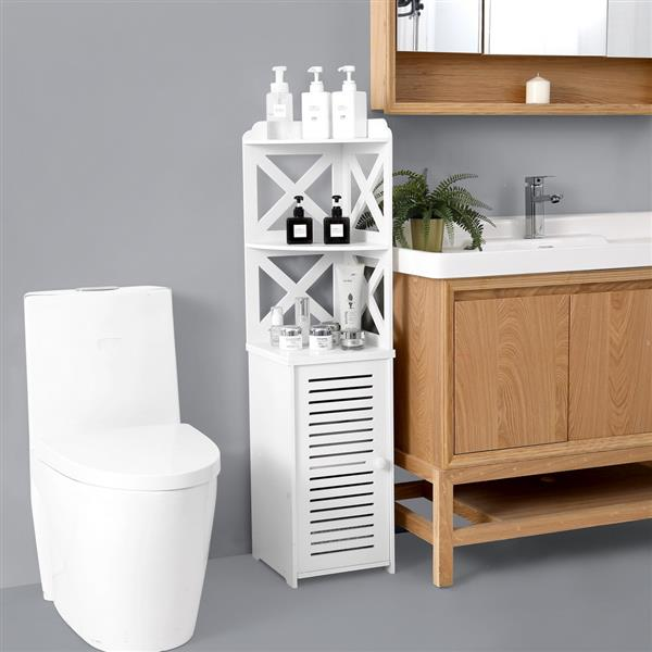 PVC Furniture, Bathroom Shelf, Cross Pattern, Layered Structure Up and Down, Single Door [30*30*120cm]