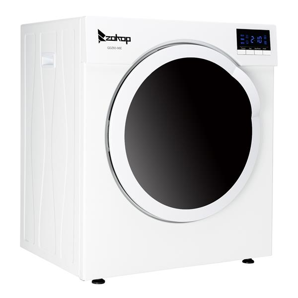 ZOKOP GDZ60-98E Household Dryer 6kg Drum Dryer with LED display ,1 Filter Mesh Cotton-White
