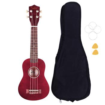 """[Do Not Sell on Amazon]Glarry UK101 21"""" Pure Color Rosewood Fingerboard Basswood Soprano Ukulele with Bag Red"""