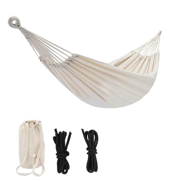 Polyester Cotton Hammock, Natural Rope 200*150Cm, With Two 2M Tie Ropes   Back Bag Beige