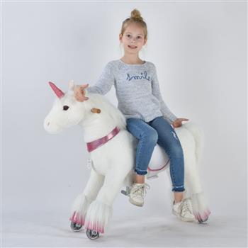 UFREE Medium 36'' Ride-on Unicorn for Children 4-9 Years Old. (White Unicorn with Pink Horn) (DO NOT SELL ON AMAZON) (DISCOUNT ON BULK PURCHASE)