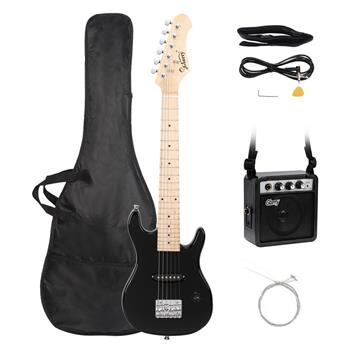 """[Do Not Sell on Amazon]Glarry 30"""" Maple Fingerboard Electric Guitar Amplifier Bag String Shoulder Strap Plectrum Cord Wrench Tool Black"""