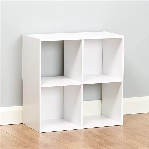 Bookcase Storage Shelf 2 Tier Wood Bookshelf Display Stand 4 Cubes Unit for Home Office Cabinet