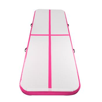 【Do Not Sell on Amazon(except for the UK)】10' x 3.3' Inflatable Gymnastic Mat Air Track Tumbling Mat with Pump Air Floor for Home Use, Beach, Park and Water Pink & Gray