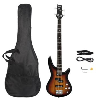 [Do Not Sell on Amazon]Glarry GIB Electric Bass Guitar Full Size 4 String Sunset Color