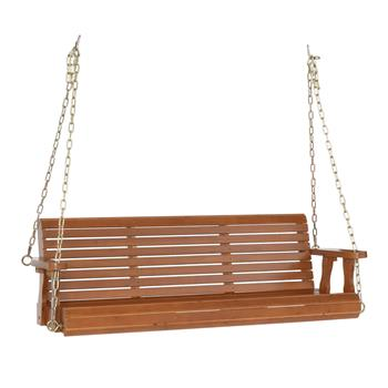 5ft Cedar With Iron Chain 500lbs Double Wooden Swing Dark Brown(Swing frames not included)