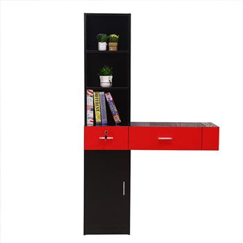 Wall Mount Beauty Salon Spa Mirrors Station Hair Styling Station Desk Black & Red