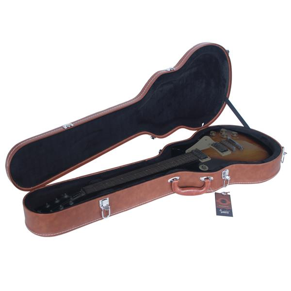 [Do Not Sell on Amazon]Glarry Hard-Shell Electric Guitar Case Bulge Surface Brown