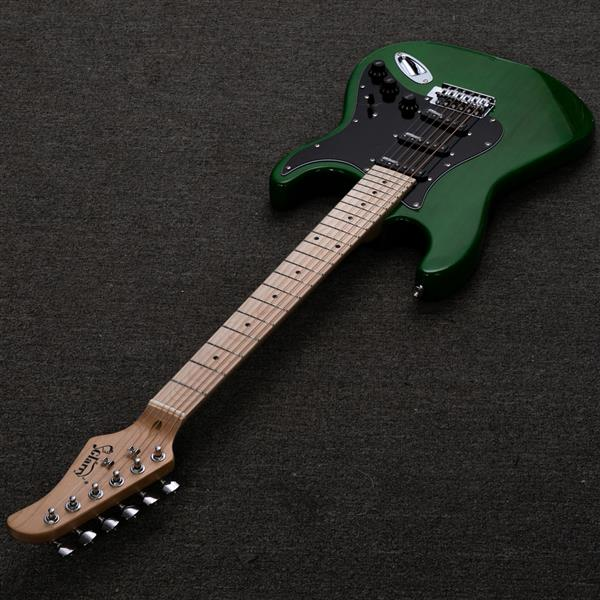 【Do Not Sell on Amazon】Glarry GST Ⅱ Upgrade Electric Guitar with Wilkinson Pickup , Daddario String, Canadian Maple Fingerboards, Bone Nut Green