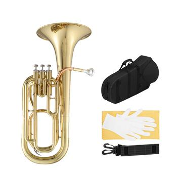 [Do Not Sell on Amazon]Glarry Brass B Flat Baritone Gold with Phosphor Copper Mouthpiece Tube 3 Stainless Steel Smooth Top Action   Pistons