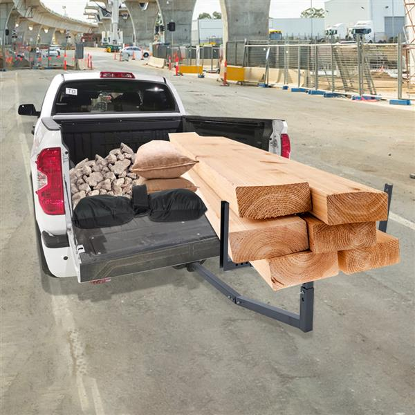 Heavy Duty Steel Pick Up Truck Bed Extender with Ratchet Straps | The Hitch Mount Truck Bed Extension can be Used for Lumber or a Ladder or a Canoe & Kayak