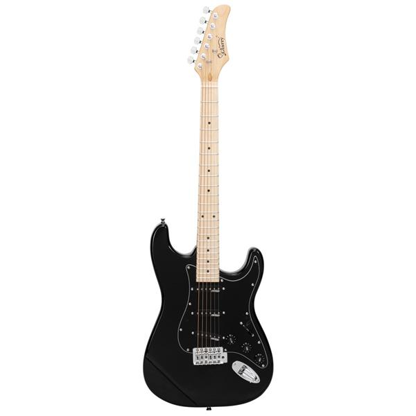 【Do Not Sell on Amazon】Glarry GST Ⅱ Upgrade Electric Guitar with Wilkinson Pickup , Daddario String, Canadian Maple Fingerboards, Bone Nut Black