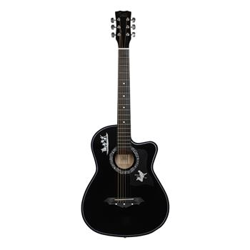 [Do Not Sell on Amazon]Glarry GT507 38 inch Spruce Guitar with Bag & Strap & Guitar Pick & LCD Mixer & Guard Plate & String Pure Black